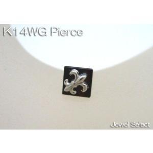 K14WG ホワイトゴールド オニキス ユリの紋章 スタッドピアス片耳用|jewelselect