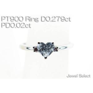 PT900 プラチナ ハートブリリアントカット ダイヤモンドリング D0.279ct SI2 Fカラー ピンクダイヤモンドD0.02ct 指輪 サイズ12.5号|jewelselect