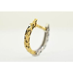 K18 イエローゴールド K18WG ホワイトゴールド ミラーカットコンビ馬蹄リングピアス片耳用|jewelselect