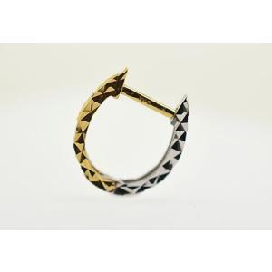 K18 イエローゴールド K18WG ホワイトゴールド ミラーカットコンビ馬蹄リングピアス片耳用|jewelselect|02