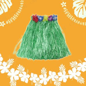 Patymo ハワイアンスカート ショート グリーン コスプレ 衣装 ハロウィン 仮装 大人 コスチューム フラダンス|jewelworld