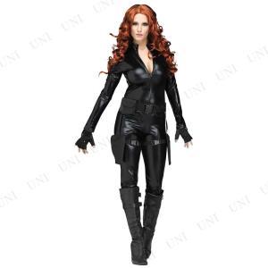 女スパイ・怪盗などになりきれるブラックのボディスーツコスチューム。ジャンプスーツ、ガンベルト、グロー...