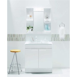 TOTO 洗面化粧台 Vシリーズ 間口600mm 化粧鏡2面鏡 LEDランプ エコミラーあり 洗面台2枚扉タイプ ホワイト|jfirst