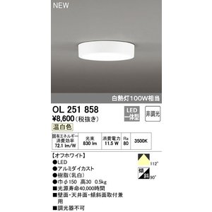 ODELIC シーリングライト 非調光 白熱灯100W相当 OL 251 858(温白色)LED一体型|jfirst