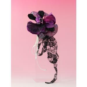 成人式 髪飾り 振袖髪飾り レースリボン パープル|jfloom