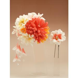 振袖 髪飾り 丸菊 ビーズ下がり オレンジ|jfloom