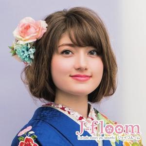 成人式 髪飾り 振袖 髪飾り ローズ ミックスフラワー ピンク JJ掲載商品|jfloom