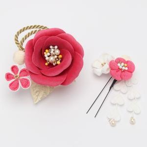 成人式 振袖 髪飾り  椿 レトロ ピンク|jfloom