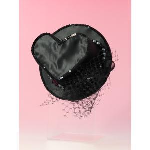 成人式 髪飾り 髪飾り ミニハット ブラック|jfloom