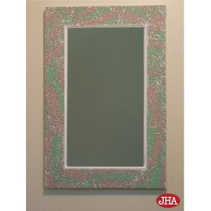 JHAモザイクミラー クラッシュタイプ(ライト・ピンク&グリーン色)W303×H452 RT-13W (ホワイトコーキング) 壁掛け鏡 ウォールミラー リゾートミラー 洗面|jha