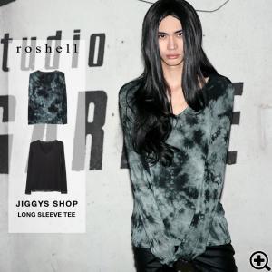 ロンT Tシャツ メンズ カットソー 長袖Tシャツ ムラ染め 深Vネック 冬服 送料無料 jiggys-shop