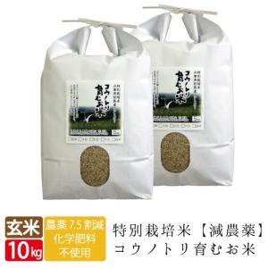 減農薬 無化学肥料 送料無料 玄米 10kg 5kg×2袋 食べる健康!生命を育むお米 コウノトリ育むお米 有機 肥料 西日本 但馬産 特A 米|jigomeya