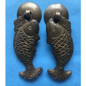 中国古典家具用金具 引き手H074 30×70(左右対称1セット)|jikkenkoubou