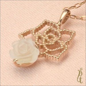 ウズイスト UZUIST ネックレス K10PG ホワイトクォーツ 薔薇 ペンダント 鏡面仕上げ IN-164 レビューを書いて送料無料 jikudo