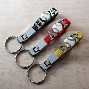 野球ボールキーホルダー イニシャル 番号 ライン2  /卒団/卒業記念/部活/プレゼント/贈り物/レザー/革 /誕生日|jimba