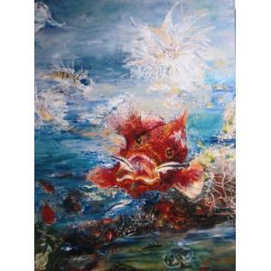 海の楽園 油彩画60号 画家   福田喜代子|jinbou