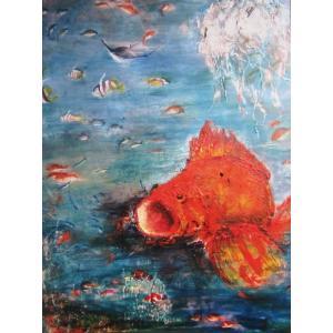 魚の楽園 80号油彩画 画家 福田喜代子|jinbou