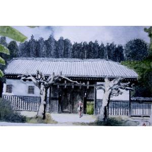 長屋門 「城門 」日本の原風景6号透明水彩画 画家小堀英司 jinbou