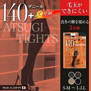 (アツギ)ATSUGI TIGHTS  140デニールタイツ 2足組 M〜L  光発熱 ブラック 日本製 送料無料|jingyuan