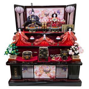 雛人形 久月 木製段飾り ひな人形 3段飾り 初節句飾り お祝 三段飾り 五人飾り 1010