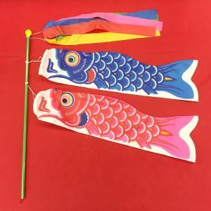 室内こいのぼり 鯉のぼり 五月人形/5月人形 吹き流し 40cm青鯉 50cm赤鯉 50cmポール5...