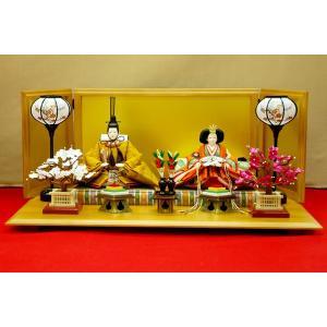 雛人形 ひな人形 親王飾り 逸品 黄呂染 屏風が高さ35cmの6曲絹屏風になります。|jinya