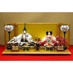 雛人形 ひな人形 親王飾り 逸品 正絹刺繍 白 屏風が高さ35cmの6曲絹屏風になります。|jinya