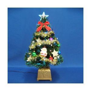 クリスマスツリー 60cmグリーンファイバーツリーセット14 LED付き|jinya