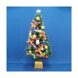 クリスマスツリー 120cmグリーンファイバーツリーセット14 LED付き|jinya