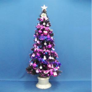 クリスマスツリー 150cmブラックファイバーツリーセット14 LED付き|jinya