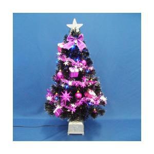 クリスマスツリー 90cmブラックファイバーツリーセット14 LED付き|jinya