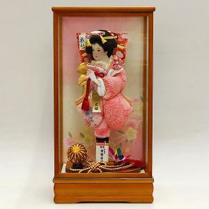 羽子板飾り 初正月 コンパクト 羽子板 13号 ピンク鹿の子絞り|jinya