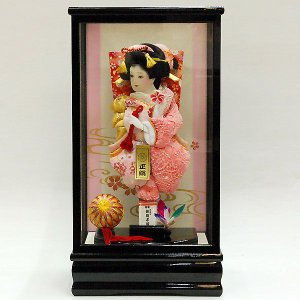 羽子板 初正月 羽子板飾り 10号姫振袖ピンク絞り森11号黒|jinya