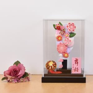 羽子板 お祝い 羽子板飾り 可愛い ピンク おしゃれ つまみ細工 初正月飾り コンパクト かわいい ミニ 7号 アクリルケース 舞桜 インテリアセット a2matu22-1-7 jinya