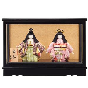 市松人形 木目込み 一秀作 市松人形 二人 ケース飾り|jinya