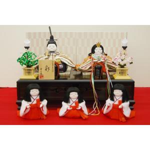 雛人形 幸一光 ひな人形 衣装着 コンパクト ミニ 彩 五人飾り 平飾り 5人 平飾り|jinya