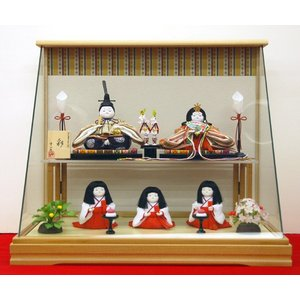 雛人形 幸一光 ひな人形 衣装着 コンパクト ミニ 彩 ケース飾り 5人飾り|jinya