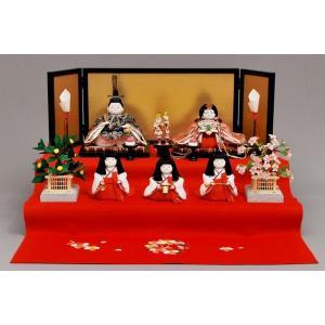 雛人形 ひな人形 幸一光 衣装着 花小町五人飾り二段飾り1120|jinya