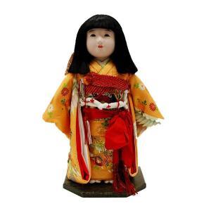 市松人形13号 駒 朱色 鶴柄 正絹 女の子 いちまつ人形 jinya