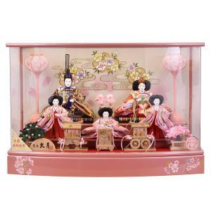 雛人形 久月 ピンク ひな人形 ケース飾り 五人飾り 5人飾り 初節句飾り お祝 女の子 出産祝い コンパクト|jinya