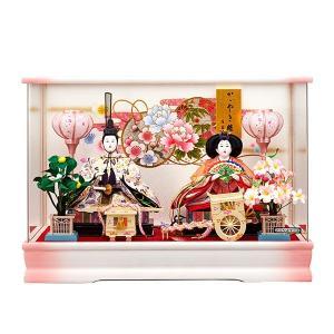 雛人形 ケース飾り ひな人形 コンパクト おしゃれ お雛様 桃姫 アクリルケース入り 親王飾り 白 ピンク jinya