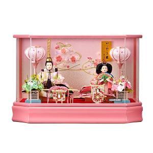 雛人形 ケース飾り ひな人形 コンパクト おしゃれ お雛様 あかね アクリルケース入り 親王飾り ピンク jinya
