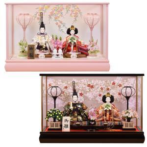 雛人形 ケース飾り ひな人形 親王飾り コンパクト ミニ アクリルケース おしゃれ ピンク色|jinya