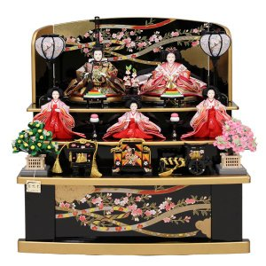 雛人形 収納飾り コンパクト 3段飾り 5人 ひな人形 お雛様 初節句飾り 黒塗り お祝い 三段飾り 五人 46t|jinya