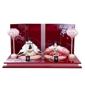 雛人形 ピンク パープル おしゃれ かわいい ひな人形 お雛様 初節句飾り お祝い 親王飾り 2人 平飾り 46t|jinya