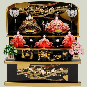 雛人形 収納飾り 三段飾り 五人飾り ひな人形 3段飾り お雛様 コンパクト ミニ 43t|jinya