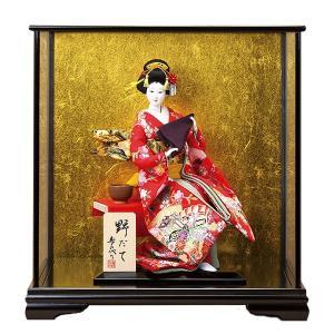 日本人形 10号尾山人形 野だて オ1136G 正絹 ガラスケース付 jinya