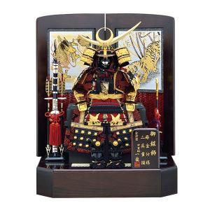 五月人形 鎧飾り 7号 上杉謙信 鎧 桐枠竜虎二曲飾り 赤色 yoroi60-69 5月人形|jinya