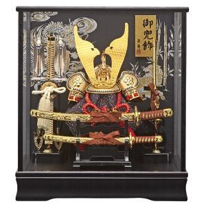 五月人形 ケース飾り コンパクト ケース入り かぶとセット 兜飾り 太刀付き 竜虎柄|jinya