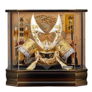 五月人形 兜 アクリルケース飾り コンパクト ケース入り かぶと 初節句飾りセット 竜柄 ホワイト jinya